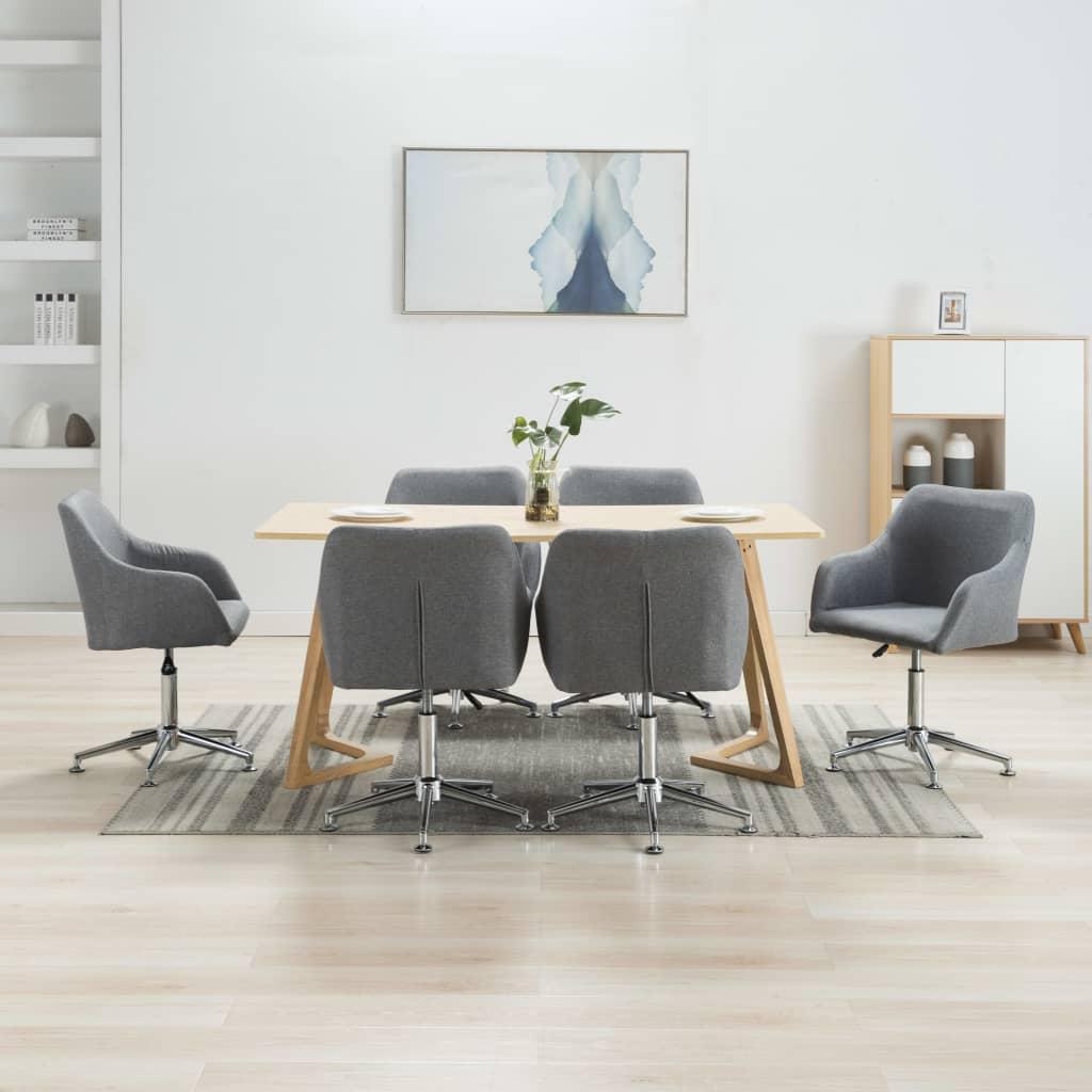vidaXL Scaune de sufragerie pivotante, 6 buc., gri deschis, textil vidaxl.ro