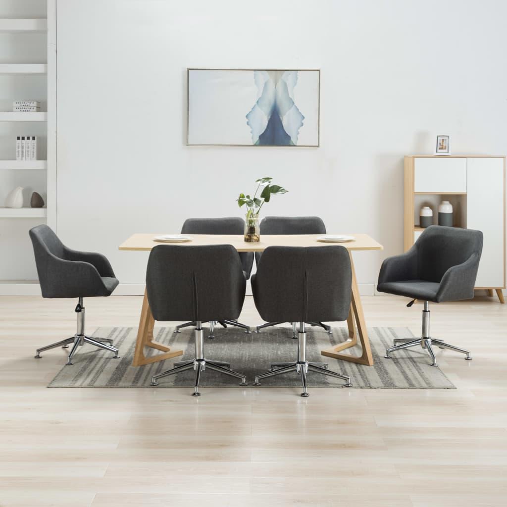 <ul><li>Farbe: Dunkelgrau</li><li>Material: Stoff + Sperrholz + Stahlbeine</li><li>Gesamtabmessungen: 55 x 53 x (78-92) cm (B x T x H)</li><li>Sitzbreite: 42 cm</li><li>Sitztiefe: 40 cm</li><li>Sitzhöhe vom Boden: 42-56 cm</li><li>Rückenlehnen-Höhe: 40 cm</li><li>Armlehnenhöhe: 13 cm</li><li>Sternfuß-Länge: 26 cm</li><li>Lieferung umfasst 6 Esszimmerstühle</li><li>Material: Polyester: 100%</li></ul>