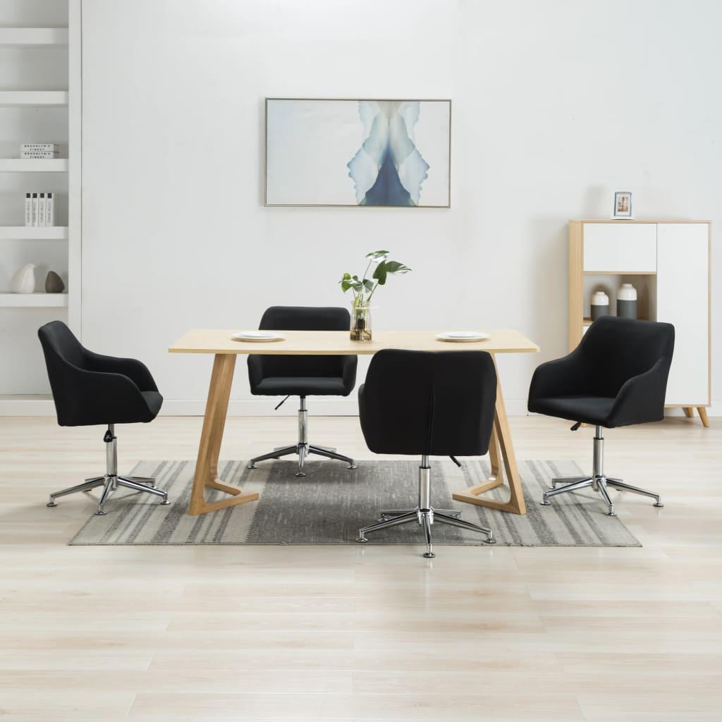 <ul><li>Farbe: Schwarz </li><li>Material: Stoff + Sperrholz + Stahlbeine</li><li>Gesamtabmessungen: 55 x 53 x (78-92) cm (B x T x H)</li><li>Sitzbreite: 42 cm</li><li>Sitztiefe: 40 cm</li><li>Sitzhöhe vom Boden: 42-56 cm</li><li>Rückenlehnen-Höhe: 40 cm</li><li>Armlehnenhöhe: 13 cm</li><li>Sternfuß-Länge: 26 cm</li><li>Die Lieferung umfasst 4 Esszimmerstühle</li><li>Material: Polyester: 100%</li></ul>