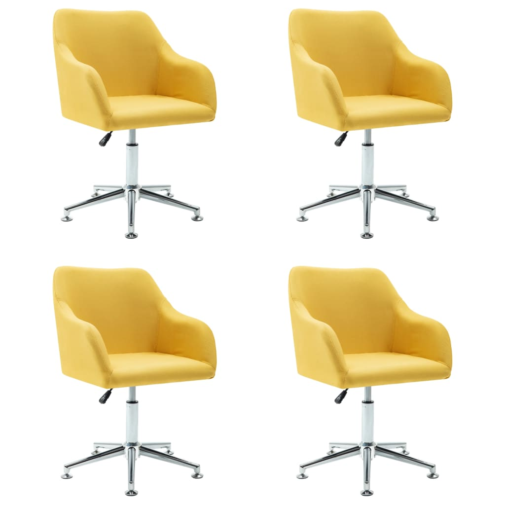 vidaXL Καρέκλες Τραπεζαρίας Περιστρεφόμενες 4 τεμ Κίτρινες Υφασμάτινες