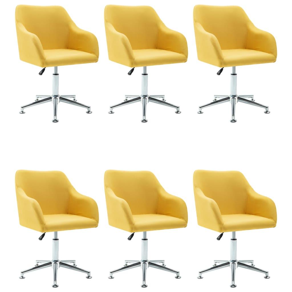 vidaXL Καρέκλες Τραπεζαρίας Περιστρεφόμενες 6 τεμ Κίτρινες Υφασμάτινες