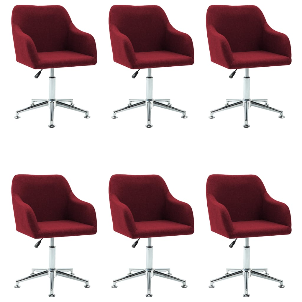 vidaXL Καρέκλες Τραπεζαρίας Περιστρεφόμενες 6 τεμ. Μπορντό Υφασμάτινες