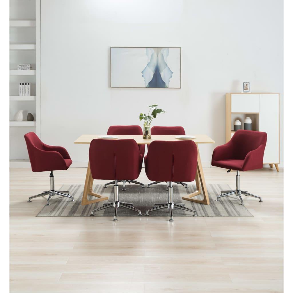 <ul><li>Farbe: Weinrot</li><li>Material: Stoff + Sperrholz + Stahlbeine</li><li>Gesamtabmessungen: 55 x 53 x (78-92) cm (B x T x H)</li><li>Sitzbreite: 42 cm</li><li>Sitztiefe: 40 cm</li><li>Sitzhöhe vom Boden: 42-56 cm</li><li>Rückenlehnen-Höhe: 40 cm</li><li>Armlehnenhöhe: 13 cm</li><li>Sternfuß-Länge: 26 cm</li><li>Lieferung umfasst 6 Esszimmerstühle</li><li>Material: Polyester: 100%</li></ul>