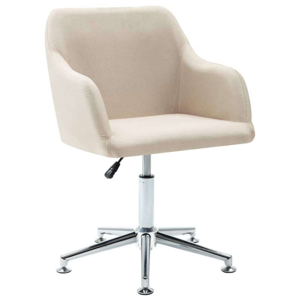 vidaXL Kantoorstoel draaibaar stof crème