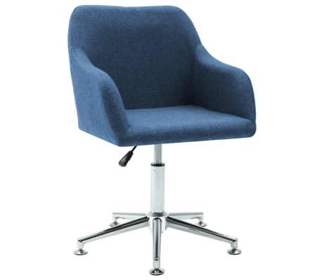vidaXL Silla de oficina giratoria de tela azul