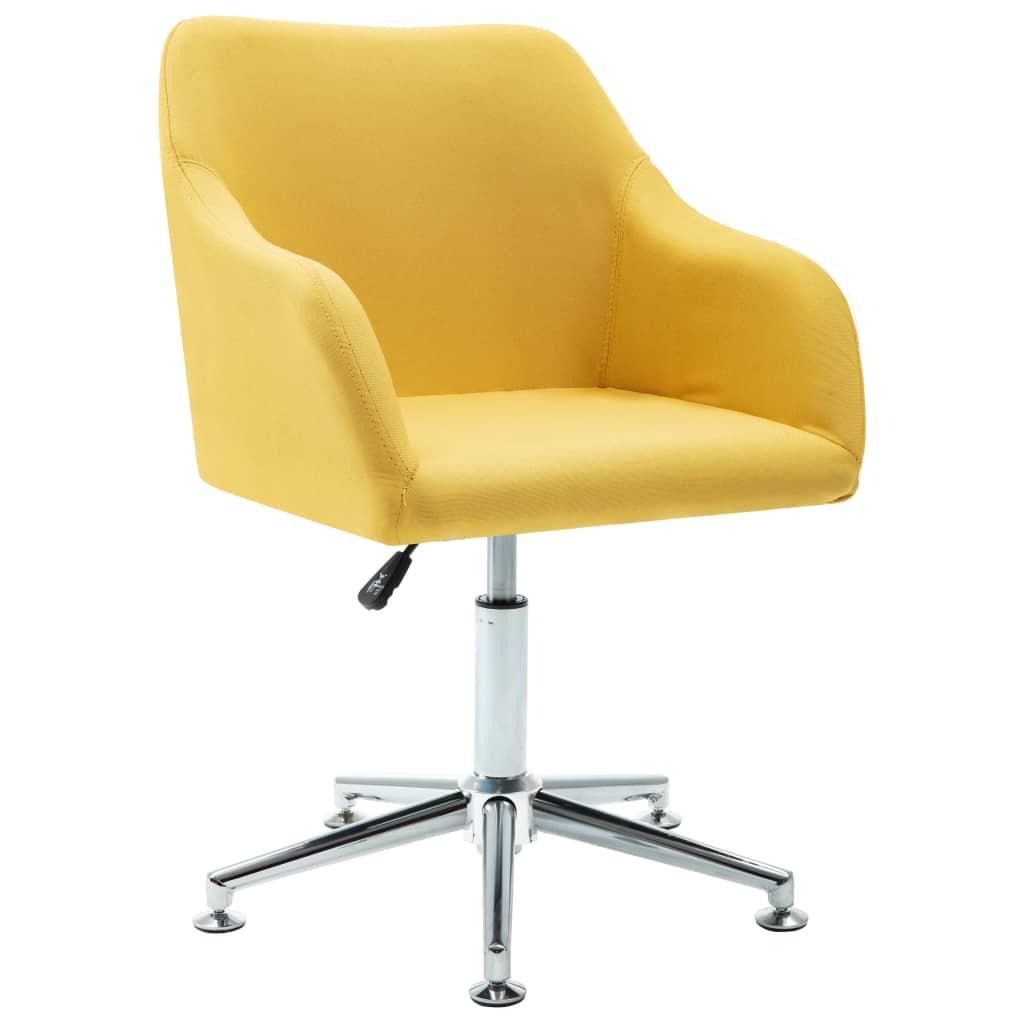 vidaXL Καρέκλα Γραφείου Περιστρεφόμενη Κίτρινη Υφασμάτινη