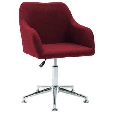 vidaXL Chaise pivotante de bureau Rouge bordeaux Tissu[1/8]