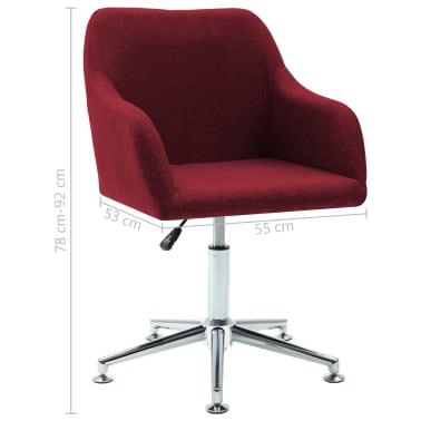 vidaXL Chaise pivotante de bureau Rouge bordeaux Tissu[8/8]