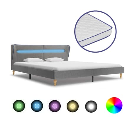 vidaXL Bed met LED en traagschuim matras stof lichtgrijs 180x200 cm