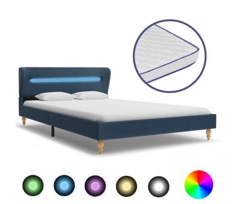 vidaXL Postel s matrací z paměťové pěny LED modrá textil 140 x 200 cm