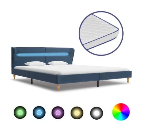 vidaXL Postel s matrací z paměťové pěny LED modrá textil 160 x 200 cm