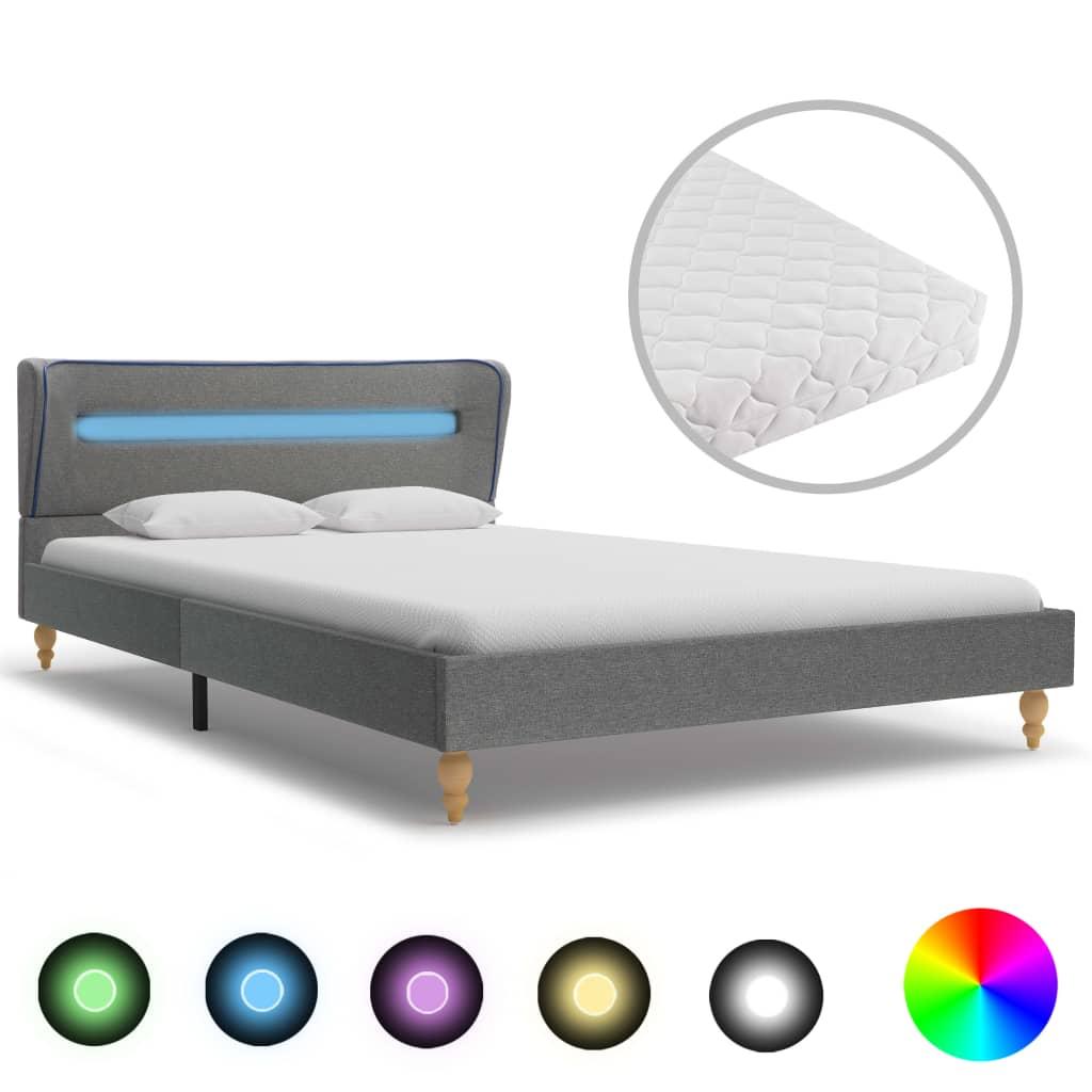 Bett mit LED und Matratze Hellgrau Stoff 140×200cm