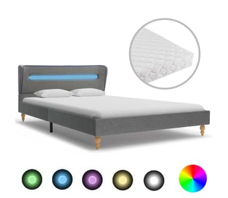 vidaXL Postel s matrací a LED světlem světle šedá textil 140 x 200 cm