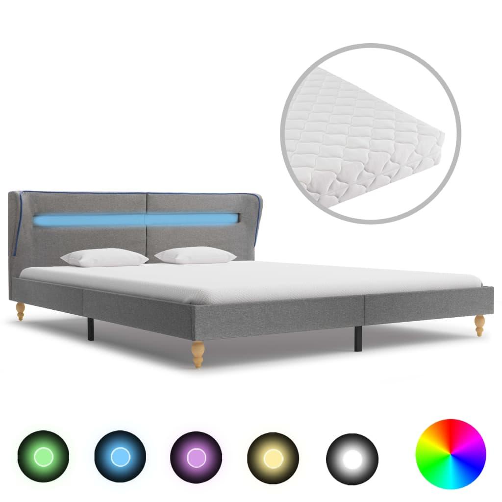 Bett mit LED und Matratze Hellgrau Stoff 160×200 cm