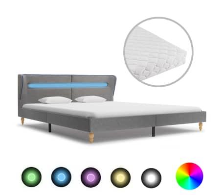 vidaXL Postel s matrací a LED světle šedá textil 180 x 200 cm
