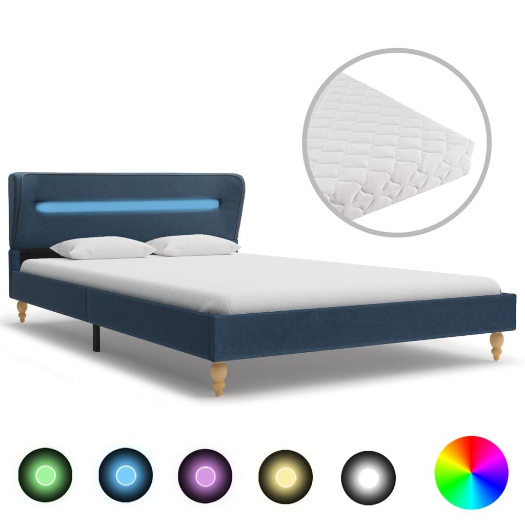 Bett mit LED und Matratze Blau Stoff 140×200 cm