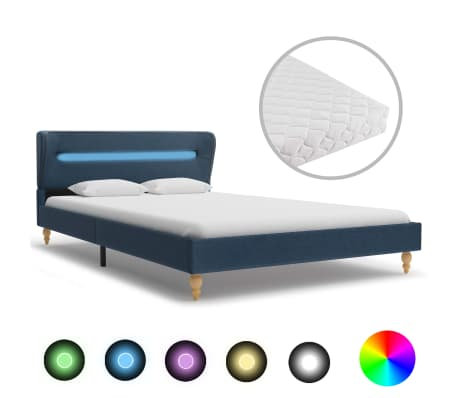 vidaXL Postel s matrací a LED světlem modrá textil 140 x 200 cm