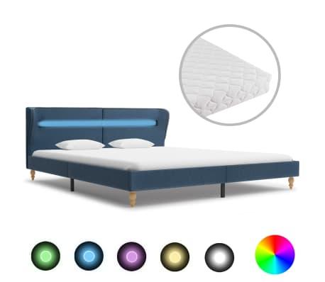 vidaXL Pat cu LED și saltea, albastru,160 x 200 cm, material textil