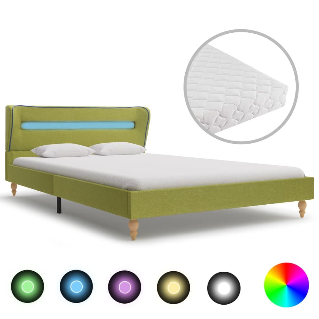 vidaXL Pat cu LED și saltea, verde, 140 x 200 cm, material textil vidaxl.ro