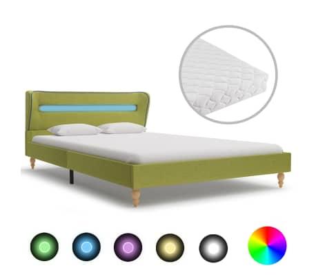 vidaXL Pat cu LED și saltea, verde, 140 x 200 cm, material textil