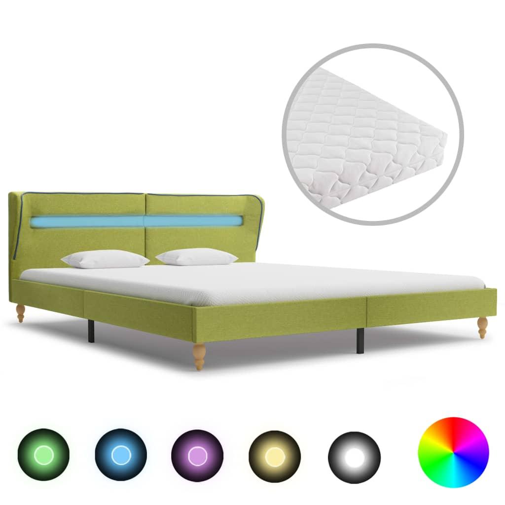 Bett mit LED und Matratze Grün Stoff 160×200 cm