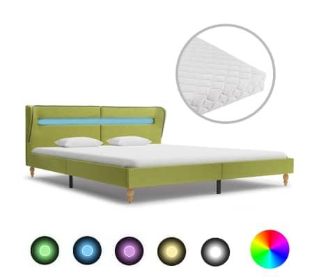 vidaXL Postel s matrací a LED světlem zelená textil 180 x 200 cm
