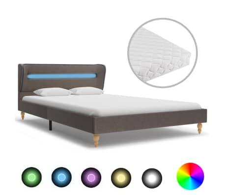 vidaXL Postel s matrací a LED taupe textil 140 x 200 cm