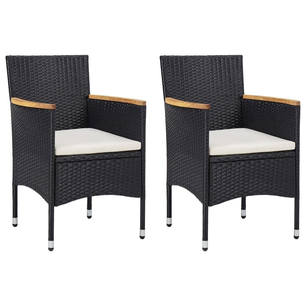 vidaXL Καρέκλες Τραπεζαρίας Κήπου 2 τεμ. Μαύρες από Συνθετικό Ρατάν