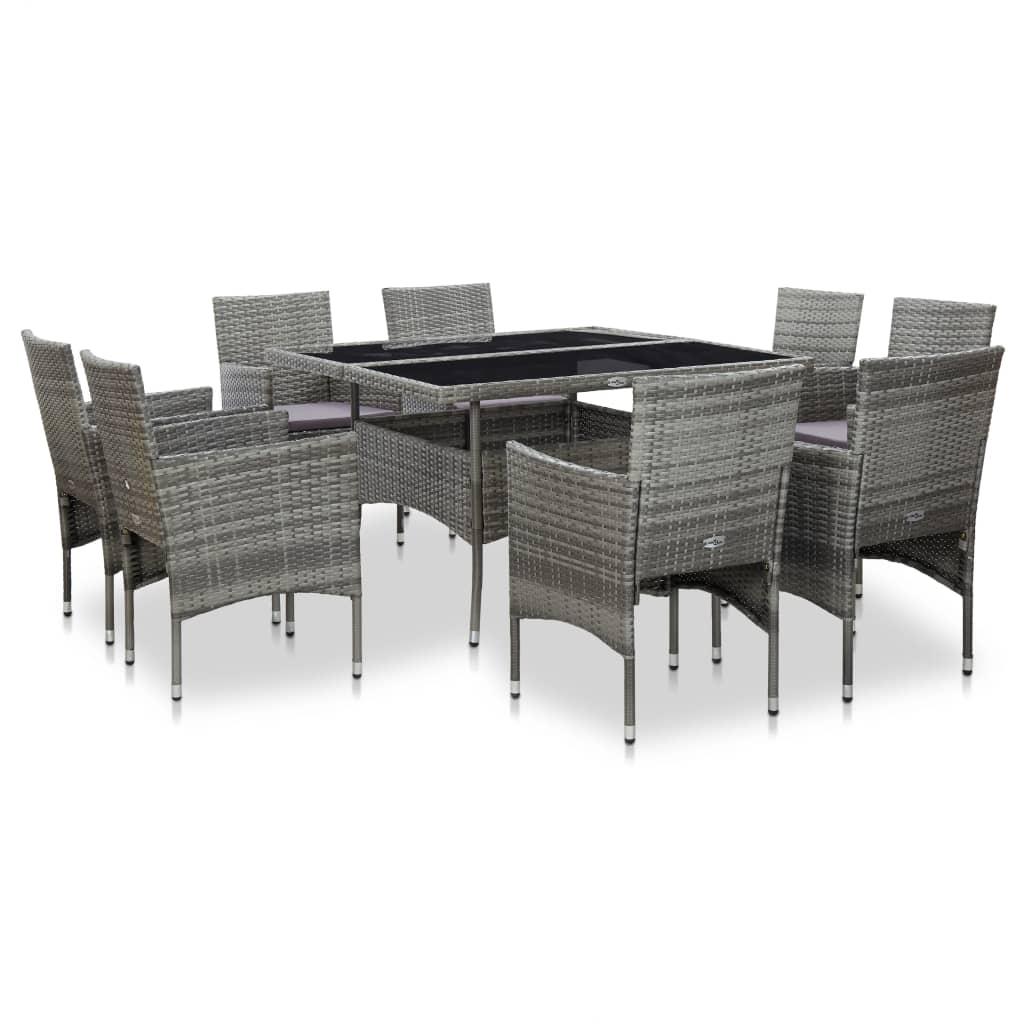 vidaXL Set mobilier de exterior, 9 piese, gri, poliratan și sticlă vidaxl.ro