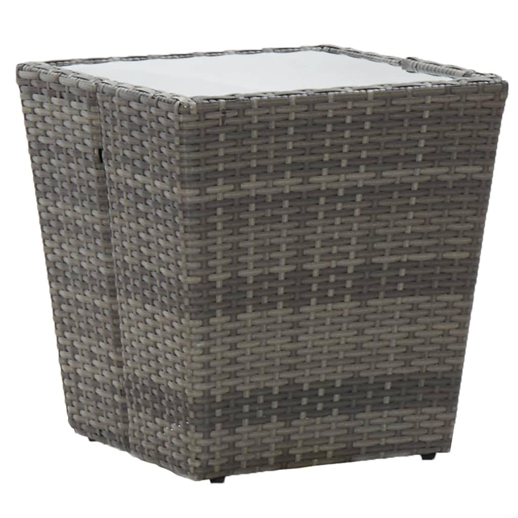 Teelaud, hall, 41,5x41,5x43 cm, polürotang, kara..