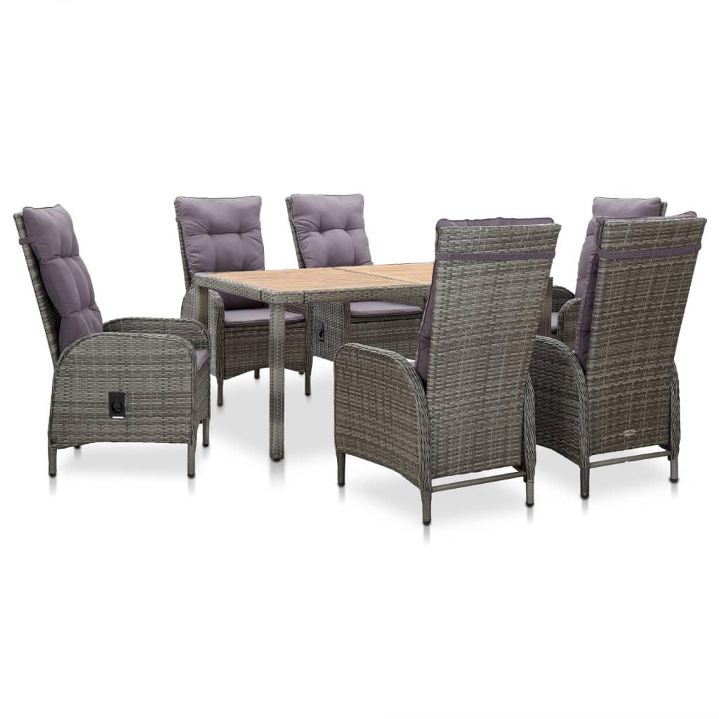 vidaXL Set mobilier de exterior, 7 piese, gri, poliratan, lemn acacia poza 2021 vidaXL
