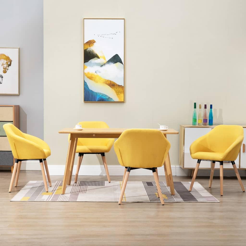 <ul><li>Farbe: Gelb</li><li>Material: Stoff + Massivholz-Beine</li><li>Abmessungen: 62 x 54 x 83,5 cm (B x T x H)</li><li>Sitzhöhe vom Boden: 50 cm</li><li>Die Lieferung umfasst 4 Esszimmerstühle</li><li>Material: Polyester: 100%</li></ul>