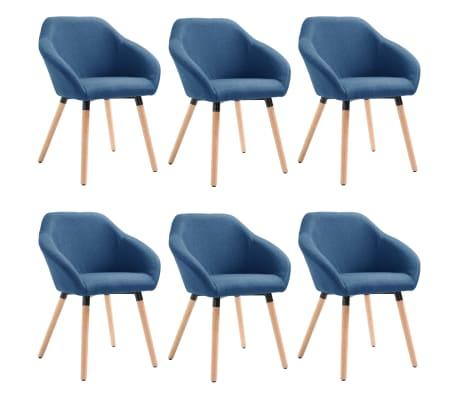 vidaXL Scaune de sufragerie, 6 buc., albastru, textil