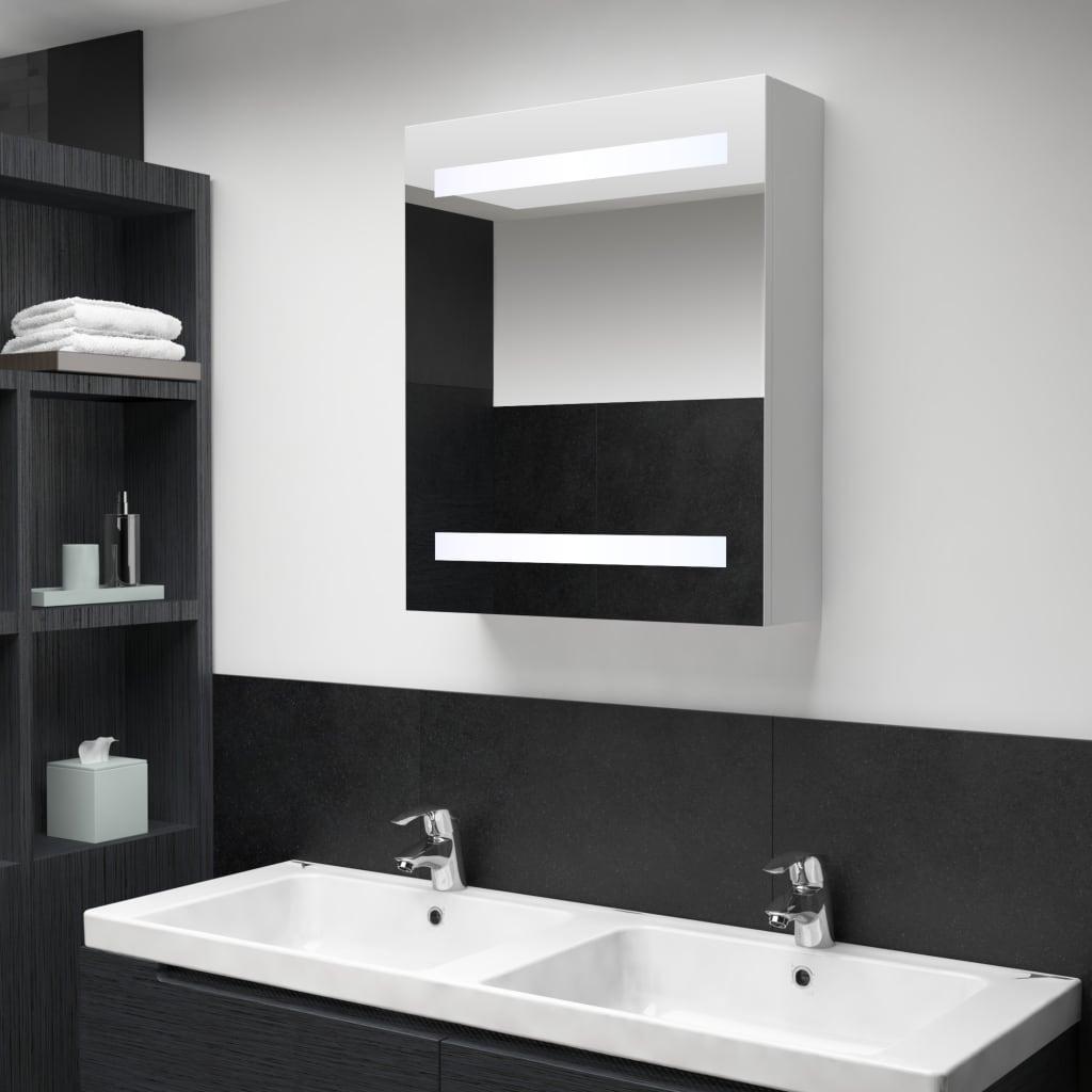 vidaXL Badkamerkastje met spiegel en LED 50x14x60 cm