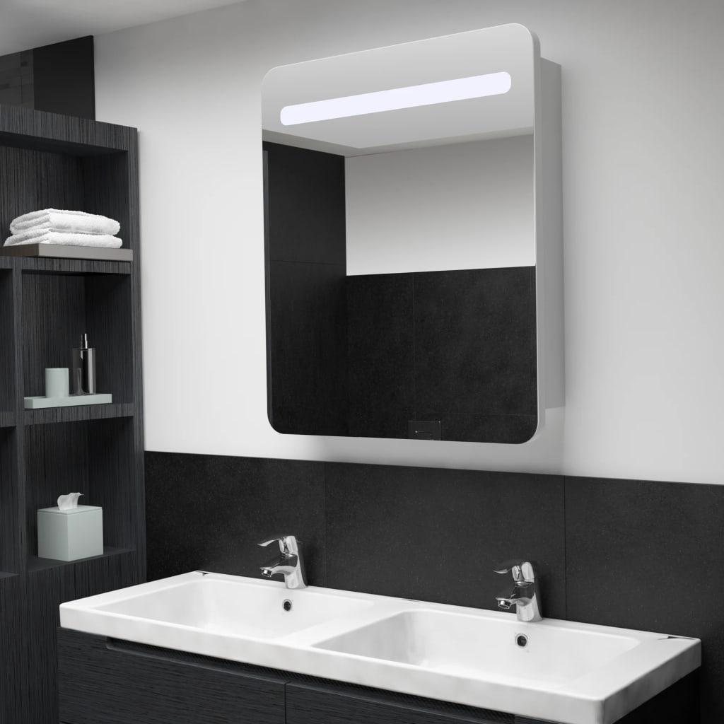 vidaXL Badkamerkastje met spiegel LED 68x11x80 cm