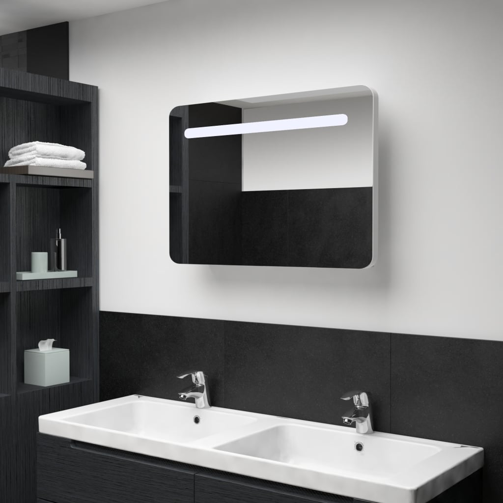 vidaXL Badkamerkastje met spiegel LED 80x11x55 cm