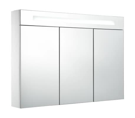 vidaXL Szafka łazienkowa z lustrem i LED, 88 x 13 x 62 cm
