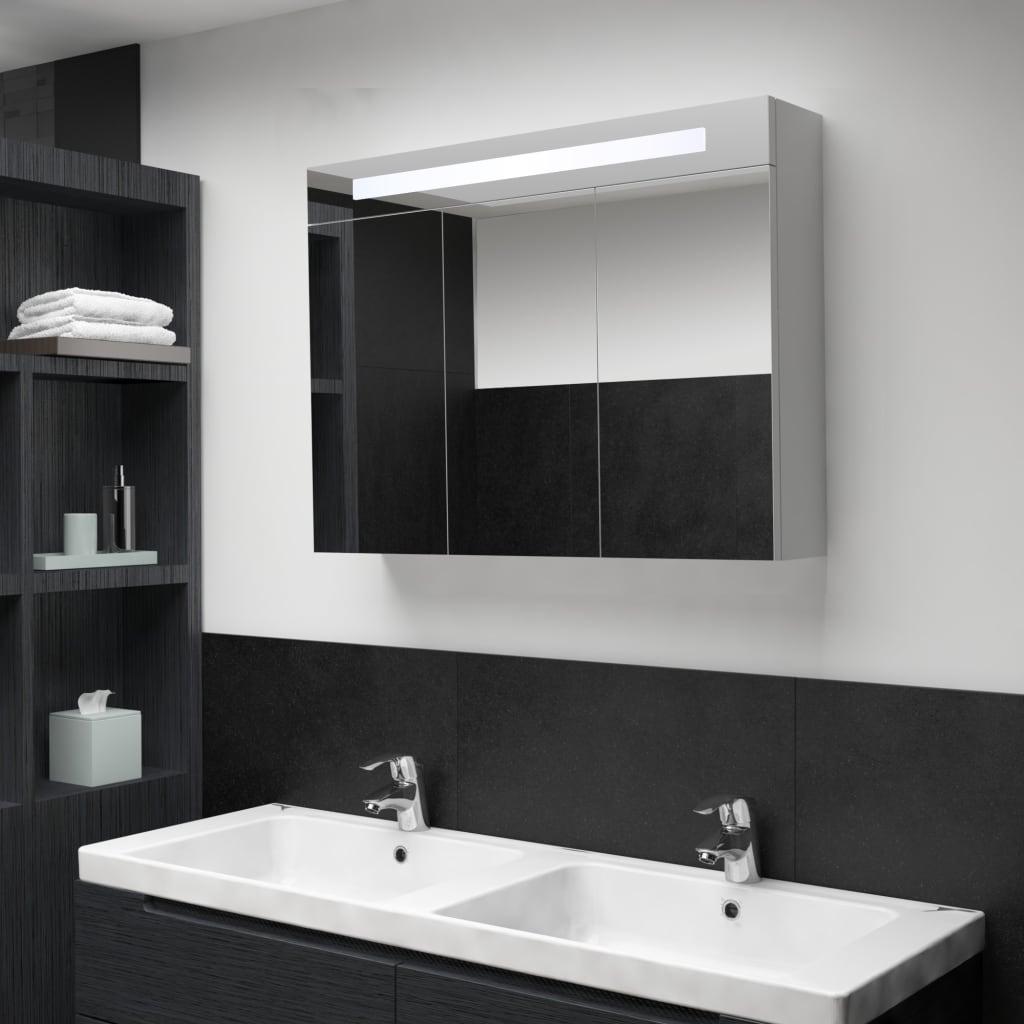 vidaXL Badkamerkastje met spiegel LED 88x13x62 cm