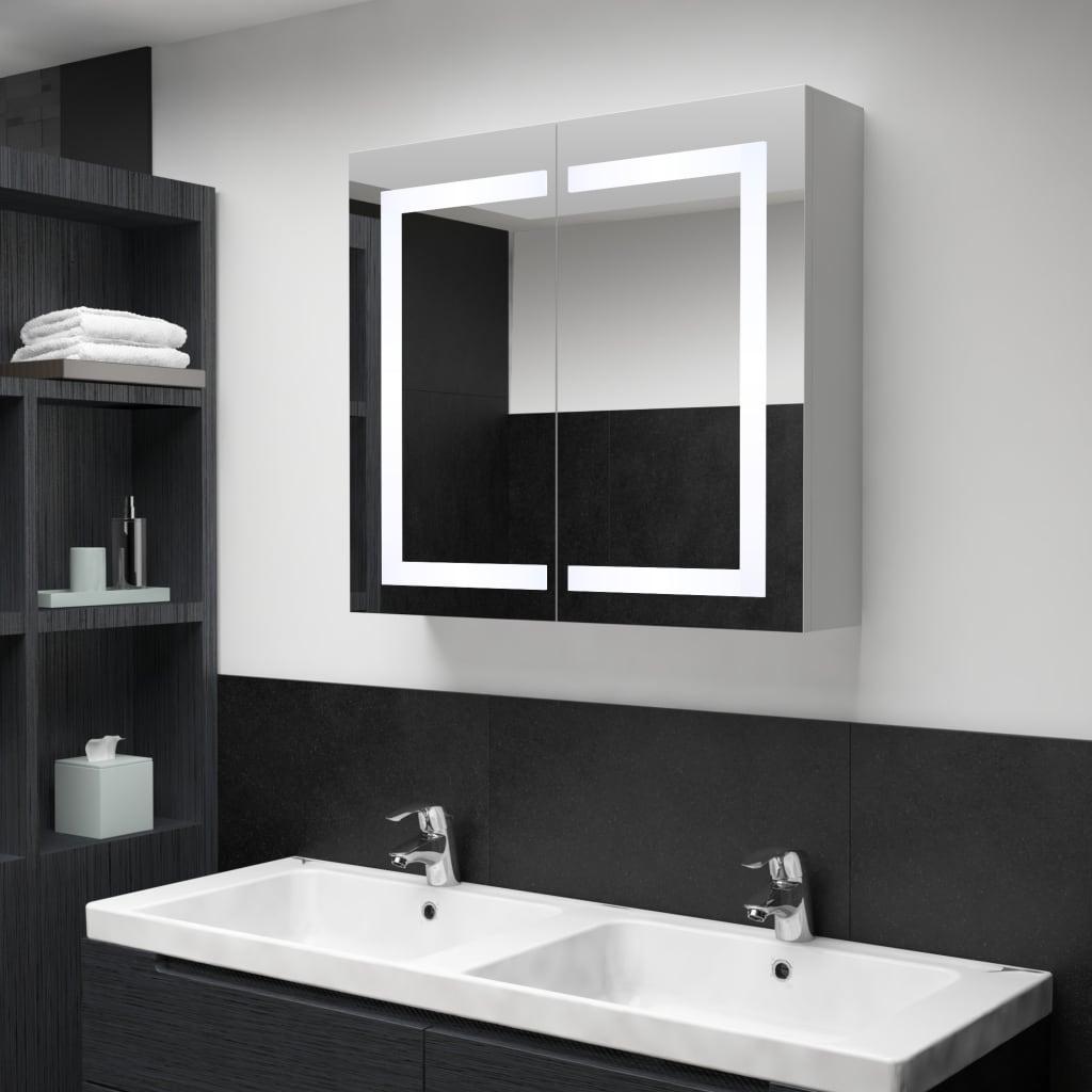 LED koupelnová zrcadlová skříňka 80 x 12,2 x 68 cm
