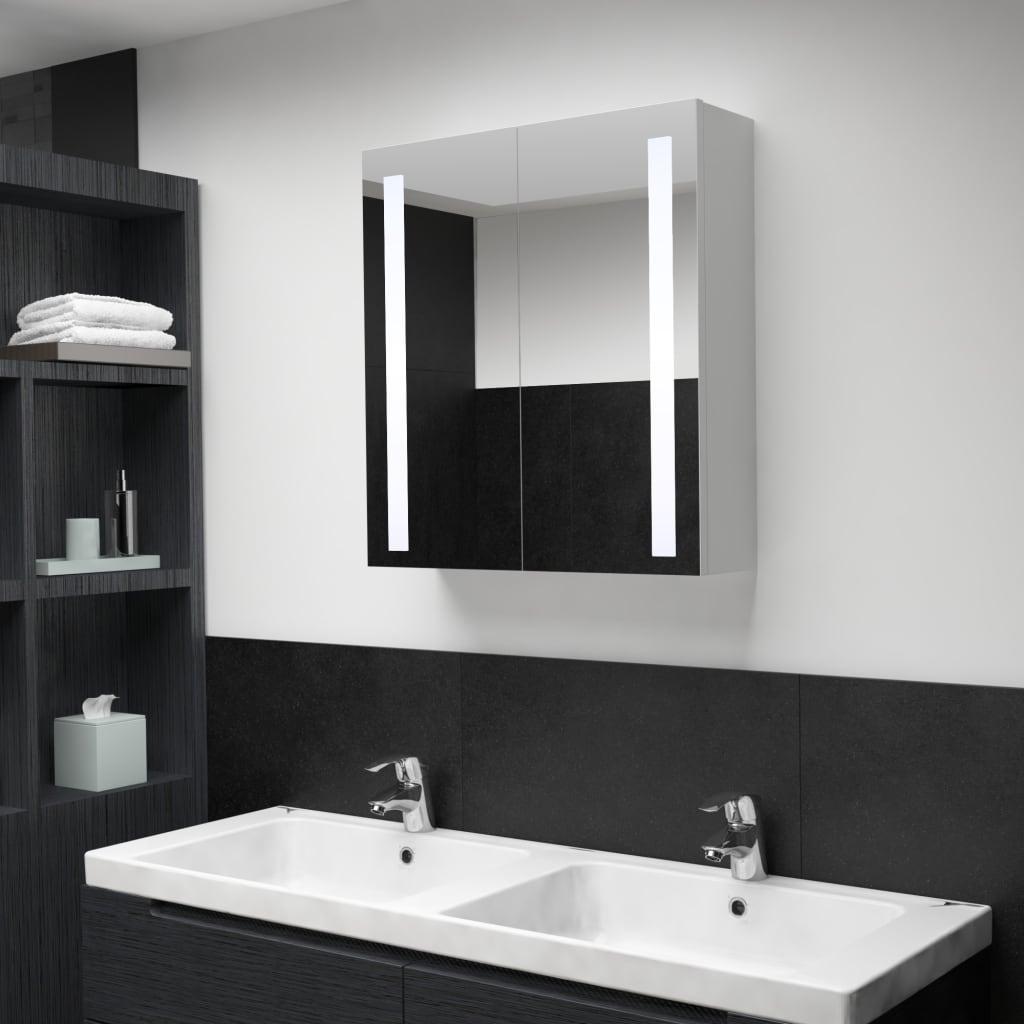 vidaXL Badkamerkastje met spiegel LED 62x14x60 cm