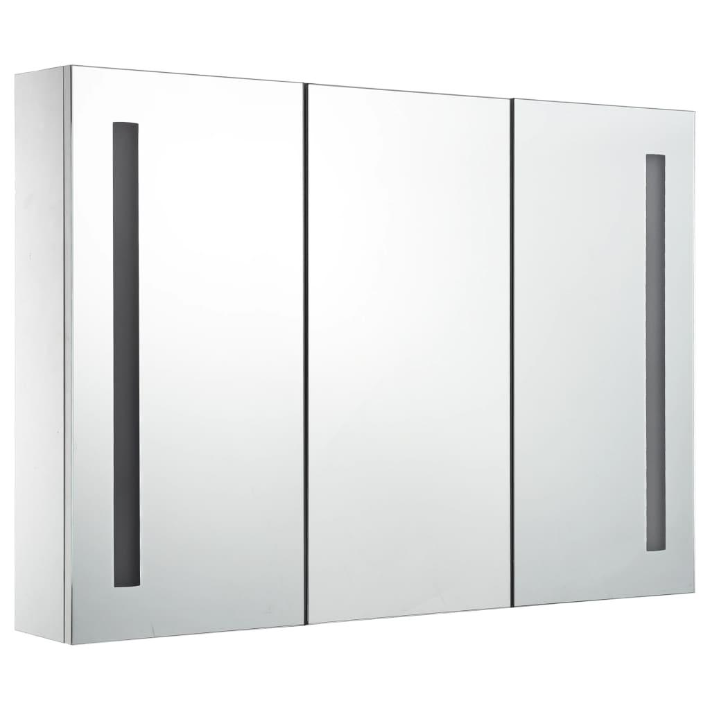 vidaXL Badkamerkastje met spiegel LED 89x14x62 cm