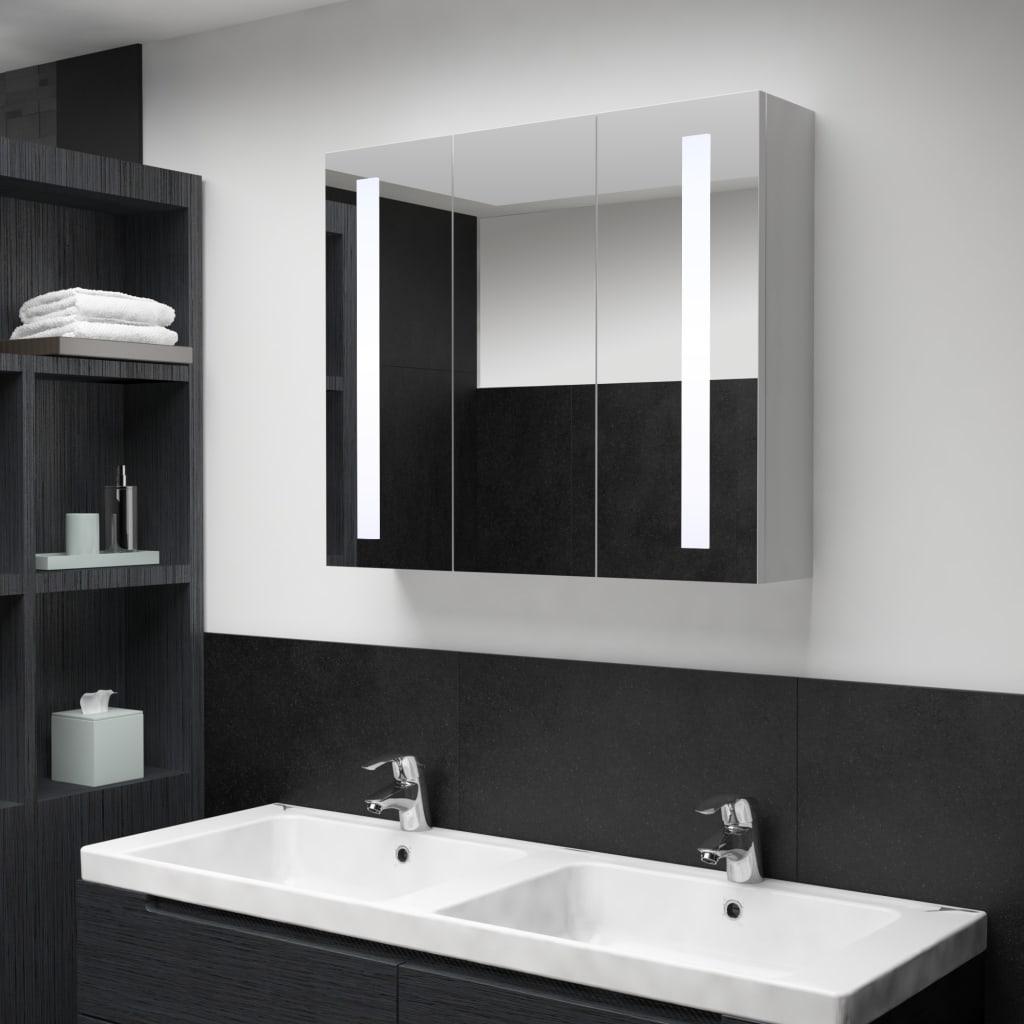 vidaXL Dulap de baie cu oglindă și LED, 89 x 14 x 62 cm vidaxl.ro
