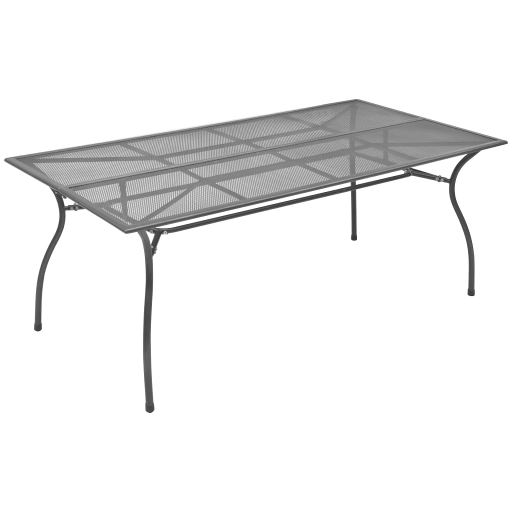 vidaXL Stół ogrodowy, antracytowy, 180x83x72 cm, stalowa siatka