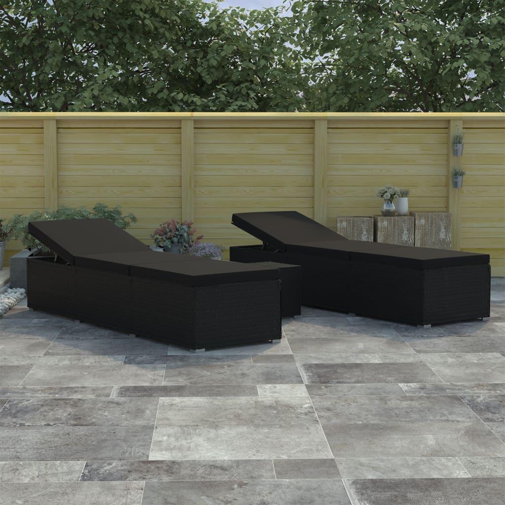 vidaXL Set de șezlonguri de grădină, 3 piese, negru, poliratan imagine vidaxl.ro