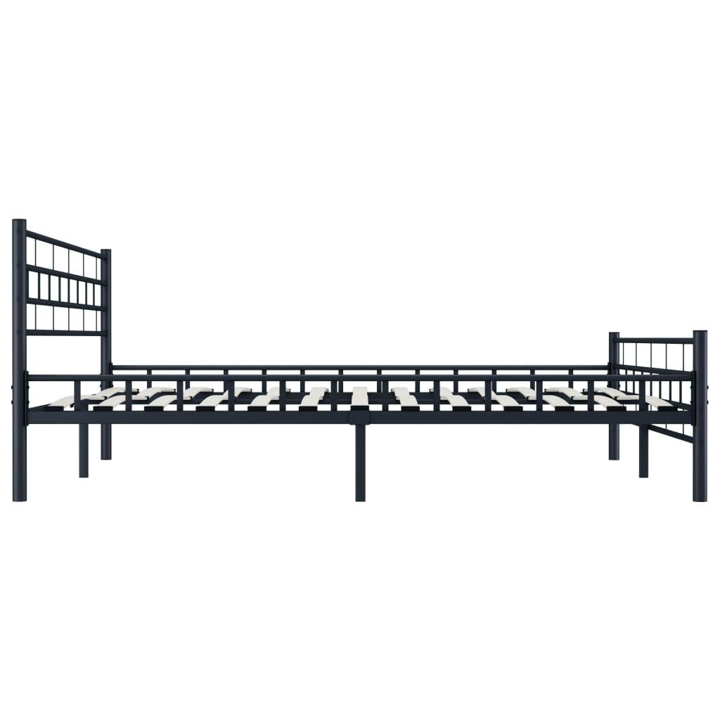 vidaXL Bedframe staal zwart 160x200 cm