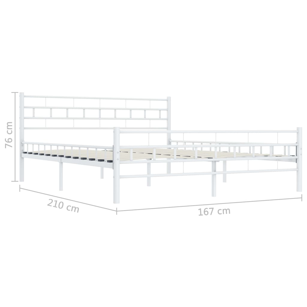 vidaXL Bedframe metaal wit 160x200 cm