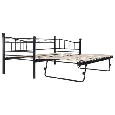 vidaXL Cadre de lit Noir Acier 180x200/90x200 cm[2/8]