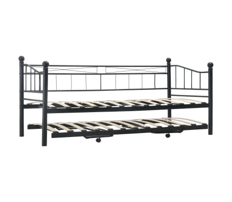 vidaXL Cadre de lit Noir Acier 180x200/90x200 cm[3/8]