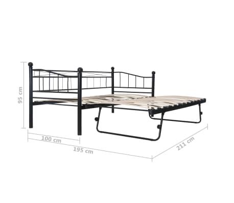 vidaXL Cadre de lit Noir Acier 180x200/90x200 cm[8/8]