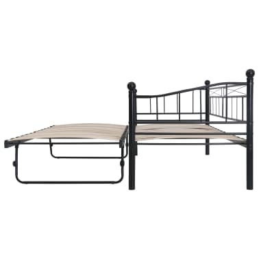 vidaXL Cadre de lit Noir Acier 180x200/90x200 cm[4/8]